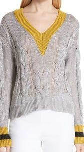 Emma Silver Metallic V Neck Sweater